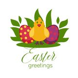 Easter greeting card vector paschal eggs and chick Stock Photography