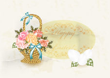 Easter greeting card in vintage style Stock Photos