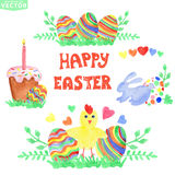 Easter greeting card.Watercolor eggs group Royalty Free Stock Image
