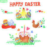 Easter greeting card.Watercolor ornament eggs Royalty Free Stock Photography