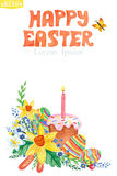Easter Greeting card.Watercolor Spring floral Stock Photo