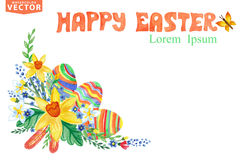 Easter Greeting card.Watercolor Spring floral Stock Images