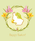 Easter greeting card with wreath of crocuses Royalty Free Stock Photo