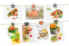 Easter greeting cards pinned on the ropes Stock Photos