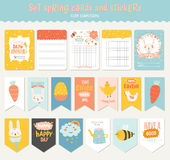 Easter greeting cards, tags, stickers and labels. Beautiful collection of Easter greeting cards, gift tags, stickers and labels templates in vector. Holiday Stock Photos