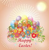 Easter greeting with colorful eggs and flowers Royalty Free Stock Photography