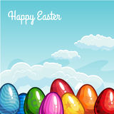 Easter greeting with eggs. In the sky. Vector illustration Stock Image