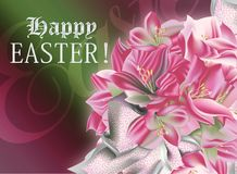 Easter greeting flowers. Happy Easter greetings with a bunch of flowers Royalty Free Stock Photography