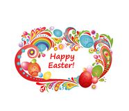 Easter greeting frame with colorful eggs Royalty Free Stock Photo