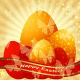 Easter greeting gold card Royalty Free Stock Photo