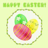 Easter greeting with green; red; yellow painted eggs Stock Image
