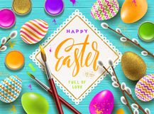 Pussy-willow branches, paint decorated multicolored eggs and paper frame with calligraphic greeting. Easter greeting illustration. Pussy-willow branches, paint Stock Photos