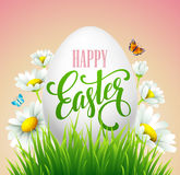 Easter greeting lettering. Eggs and flowers. Vector illustration Stock Image