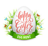 Easter greeting lettering. Eggs and flowers. Vector illustration Royalty Free Stock Image