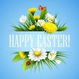 Easter greeting. Lettering Flower Egg. Vector illustration Stock Images