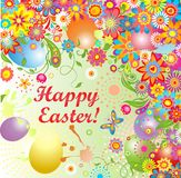 Easter greeting with painted eggs Royalty Free Stock Images