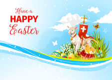 Easter greeting paschal passover lamb vector card Stock Image