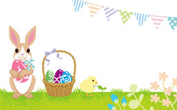 Easter greeting, Rabbit and Chick Stock Photos