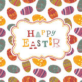 Easter greeting on seamless eggs pattern. Stock Photography