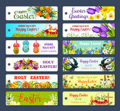 Easter greeting tag and Egg Hunt gift label set Stock Photos
