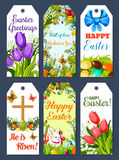 Easter greeting tag and holiday gift label set Royalty Free Stock Photography