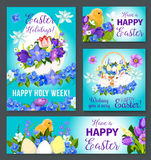 Easter greeting vector paschal banner poster card Royalty Free Stock Image