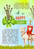 Easter greeting vector poster, paschal eggs willow Royalty Free Stock Photography