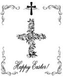 Easter greeting with vintage floral cross black and white Royalty Free Stock Photography