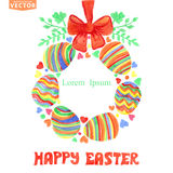 Easter greetingcard.Watercolor eggs wreath Royalty Free Stock Photos