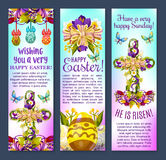 Easter greetings banner with egg, cross, flowers Stock Photos