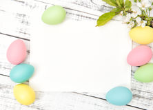 Easter greetings card eggs decoration spring flowers Royalty Free Stock Photography