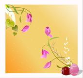 Easter greetings card with eggs and flowers,illust Stock Photos