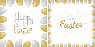 Easter greetings card. Gold - silver lettering isolated on white background with gold and silver realistic eggs. Stock Photos