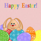 Easter greetings card with rabbit and eggs Royalty Free Stock Photography
