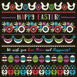 Easter greetings cards with color easter eggs, flowers and hen. Ideal for printing onto fabric and paper or scrap booking, vector Stock Photos