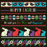 Easter greetings cards with color easter eggs, flowers and rabbi Stock Image