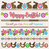 Easter greetings cards with color easter eggs, flowers , rabbit Stock Images