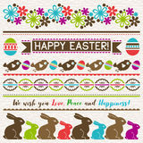 Easter greetings cards with color easter eggs, flowers , rabbits Stock Photography