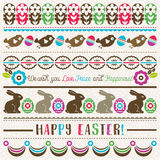 Easter greetings cards with color easter eggs, flowers Royalty Free Stock Photo
