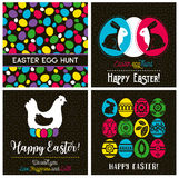 Easter greetings cards with color easter eggs, hen, flowers Stock Images