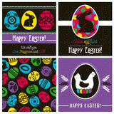 Easter greetings cards with color easter eggs, hen, flowers and Royalty Free Stock Photos