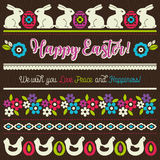Easter greetings cards with color easter eggs, hen, flowers and Stock Images