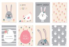 Easter greetings cards set Stock Images