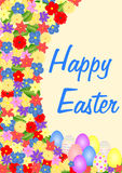 Easter greetings colorful flowers and easter eggs Royalty Free Stock Image