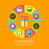 Easter Greetings Concept. Vector Illustration of Spring Holiday Infographics Circle with Icons Stock Photo