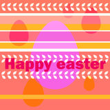 Easter greetings and egg oval. Vector picture with Easter greetings and egg oval on the background of the bands and other elements Royalty Free Stock Images
