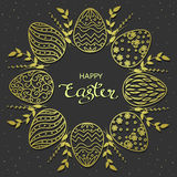 Easter greetings. Golden eggs wreath with lettering text on dark background.Vector illustration Stock Images