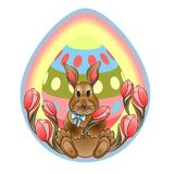 Easter bunny on a background of tulips stock illustration