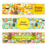 Easter Greetings Template Banners Set in Modern Flat Style Stock Image