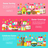 Easter Greetings Web Horizontal Banners Stock Images